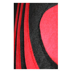 Rug - 3-Piece Set Bright Red Living Room Area Rugs, Geometric & Machine Made - GEO COLLECTION