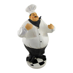 Large Chef 2 Bottle Tabletop Wine Holder 24 In. - This jolly chef is a fun accent to tables or counter tops in your home or restaurant. Made of cold cast resin, he measures 24 inches tall, 13 inches wide, 10 inches deep, and can accommodate 2 bottles up to 3 inches in diameter. This piece makes a lovely housewarming gift with bottles of red and white wines, and it looks great in kitchens and dining rooms.