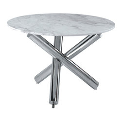 Nuevo Living - Victoria Dining Table - Classic meets modern in this unique table to make a stylish statement in your home. A circle of marble, emblematic of beauty and luxury since time immemorial, sits atop a sleek frame of polished stainless steel.
