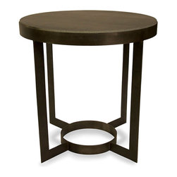 Parker Side Table with Stone - Rich hues and balanced ring forms are composed in classic relation to form the timeless Parker Side Table, a stone-topped metal end table that smoothes corners and counters geometric lines for a stylish sense of aplomb in your home's spaces. The thin, blade-straight quartet of legs counters the curves of the base and top's outlines, forming a perfect, studied contrast.