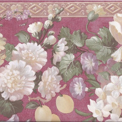 York Wallcoverings - Red Gold Molding Grapes Peaches Floral Wallpaper Border - Wallpaper borders bring color, character and detail to a room with exciting new look for your walls - easier and quicker then ever.