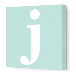 """Avalisa - Letter - Lower Case 'j' Stretched Wall Art, 28"""" x 28"""", Sea Green - Spell it out loud. These lowercase letters on stretched canvas would look wonderful in a nursery touting your little one's name, but don't stop there; they could work most anywhere in the home you'd like to add some playful text to the walls. Mix and match colors for a truly fun feel or stick to one color for a more uniform look."""