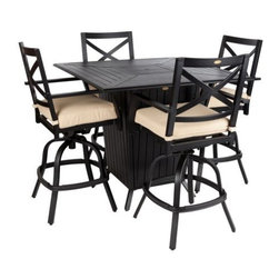 """Well Travel - High Mission Gas Fire Pit Bar Set - Our new High Mission Gas Fire Pit Bar Set is constructed of extruded aluminum with powder coated black finish. This set includes four bar stools with beige outdoor cushions and a 45"""" x 45"""" square bar height gas fire pit. The attractive black finish is the perfect accent for any patio. Constructed of extruded aluminum, the chairs and table are lightweight yet extremely durable. The gas fire pit not only functions as a fire pit, but an outdoor patio bar height table as well with its convenient extruded aluminum fire bowl lid. Our bar set is perfect for entertaining your guests and keeping them warm with its 40,000 BTU burner fire pit. This bar set can be used all year round and provides a maintenance free outdoor dining experience."""
