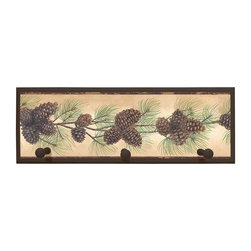 illumalite Designs - Pine Cone Plaque Coat Rack with Pegs - This charming floral themed plaque is the perfect addition to any room. Measuring 7 in. by 20.5 in., this plaque is the ideal size to add a floral touch to any wall. Features 3 painted wooden pegs to hold anything from coats to keys. The hand painted brown colored border highlights the beautiful design