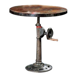 "YOSEMITE HOME DECOR - Adjustable Pub Table - This adjustable height table features a solid mango wood  top with metal trim resting on a cast iron pedestal base.  Turn the handle  to adjust the table height from 27""-39"".   Lubricate with graphite, do not use oil.  Made in India.  Overll Item Dimensio 27.5""Wx27.5""Dx39""H"