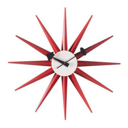 Nelson Sunburst Clock | Design Within Reach - Red is not a typical shade for mid-century pieces, but this vintage-styled piece wears it quite nicely, don't you think?  Although we admit we are a bit biased towards anything from George Nelson.