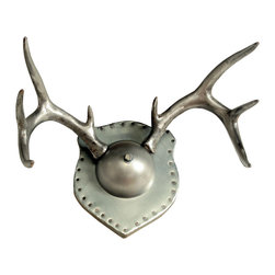 Workshop 152 - Consigned Vintage Cast Aluminum Mounted Antlers - We're not sure if just these antlers were cast in aluminum for who-knows-what reason, or if they once belonged to an aluminum deer. (Can you imagine the noise an entire herd would make?) All we know is that once we saw them we had to have them so we could create this one-of-a-kind industrial style trophy. Each antler was cast separately and is wholly unique. The mount was crafted from a steel half-sphere and a zinc-clad wood plaque. We guarantee you won't find another one of these anywhere. Probably ever.