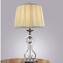 None - Crystal Ball Fabric Shade Table Lamp - A satin nickel finish and curved shape add a traditional look to this elegant crystal table lamp. The lamp features a rotary switch to turn the power on and off, and it comes with a matching fabric shade that complements its classic style.