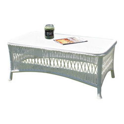 Wicker Paradise - Princeton Wicker Cocktail Table - White - Your vintage style outdoor sitting area is complemented by this classic coffee table in a white finish. Serve refreshments and cocktails on the easy-to-clean glass tabletop as you and your guests enjoy the open air dining.