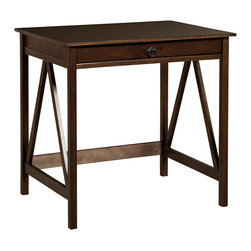 Linon Home Decor - Linon Home Decor TITIAN LAPTOP DESK X-U-DK-10-BOTA55168 - Our Titian Collection has a simple yet eye-catching design that is matched with incredible durability. This versatile laptop desk makes good use of space with ample work and display space.  A single, wide drawer provides ample hidden storage space for small items or even a keyboard.  A neutral, classic Antique Tobacco finish allows this piece to easily complement your homes decor.