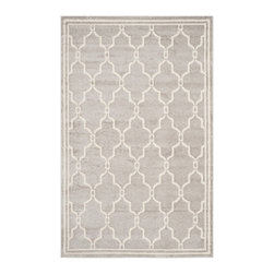 Safavieh - Chelsea Indoor/Outdoor Rug, Light Grey / Ivory 10' X 14' - Construction Method: Power Loomed. Country of Origin: Turkey. Care Instructions: Easy To Clean. Just Rinse With A Garden Hose. Coordinate indoor and outdoor living spaces with fashion-right Amherst all-weather rugs by Safavieh. Power loomed of long-wearing polypropylene, beautiful cut pile Amherst rugs are made to stand up to tough outdoor conditions, but designed with the aesthetics of indoor rugs. Use these family-friendly geometric designs on patios, in kitchens, busy family rooms and other high traffic rooms.