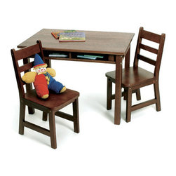 Lipper International - Kids' Table and Chair Set - This carefully crafted child's table and chair set provides a stylish and utilitarian work area for your playroom, or for any room in your house. The shelves under the table top are ideal for holding books, crayons or other tools, keeping the table neat and presentable when it's not in use. Features: -Convenient storage shelves.-Easy to clean surface.-Includes table and two chairs.-Collection: Juvenile Furniture.-Hardware Finish: Nickel.-Distressed: No.-Powder Coated Finish: No.-Gloss Finish: No.-Table Top Material: Wood.-Table Base Material: Wood.-Hardware Material: Nickel.-Hand-Painted: No.-Number of Items Included: 3.-Pieces Included: Table and 2 chairs.-Non Toxic: Yes.-Weather Resistant: No.-Water Resistant: No.-Scratch Resistant: No.-Fade Resistant: No.-UV Resistant: No.-Stain Resistant: No.-Insect Resistant: No.-Rot Resistant: No.-Chip Resistant: No.-Table Design: Writing Table.-Table Shape: Rectangular.-Wheels Included: No.-Rounded Corners: Yes.-Table Legs: Yes -Number of Legs: 4.-Removable Legs: Yes.-Leg Glides: No..-Seating Included: Yes -Seating Type: Standard Chairs.-Number of Chairs Included: 2.-Attached Seating: No.-Seating Material: Wood.-Seating Cushion Included: No.-Number of Chair Legs: 4.-Removable Chair Legs: Yes.-Chair Leg Glides: No.-Seating Weight Capacity: 60.-Nested Seating: Yes.-Seating Storage: No..-Table Top Organization: Yes.-Drawers Included: No.-Shelving Included: Yes -Number of Shelves: 1.-Adjustable Shelving: No..-Storage Features: No.-Cupholder: No.-Umbrella Included: No.-Chalkboard Included: No.-Whiteboard Included: No.-Easel Included: No.-Collapsible: No.-Minimum Age: 2.-Maximum Age: 9.-Total Seating Capacity: 2.-Outdoor Use: No.-Table Weight Capacity: 30.-Swatch Available: No.-Commercial Use: No.-Recycled Content: No.-Eco-Friendly: No.-Product Care: Wipe clean with a damp cloth.Specifications: -ASTM Certified: No.-CARB Compliant: No.-CPSIA or CPSC Compliant: No.-EPP Compliant: No.