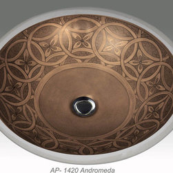 """Full Gold & Platinum Decorations - """"Andromeda"""" Painted on AP-1420 white Monaco Medium undermount sink center drain with overflow 17""""x14"""". This intricate design can be painted on any of our white fixtures."""