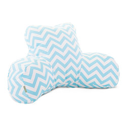 Majestic Home - Indoor Tiffany Blue Chevron Reading Pillow - That bestseller is about to get a lot better. This reader pillow, a smart reinvention of the beanbag, gives you the support you need to read, watch TV or simply relax in style. Plus, the cotton twill slipcover zips off for easy machine washing.