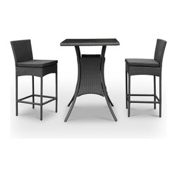 East End Imports - Pub Table and Two Chair Set In Black Rattan with Black Cushions - Whatever your taste, the suds are best sipped with a friend. Take two from the fridge and venture outside to some crisp air and happy laughter. The set is small enough for any patio or backyard space, but amiably modern to help deliver good times.