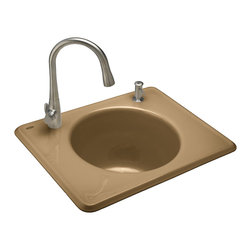 KOHLER - KOHLER K-6654-2-33 Tandem self-rimming cast iron utility sink - KOHLER K-6654-2-33 Tandem self-rimming cast iron utility sink in Mexican Sand