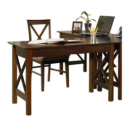 Atlantic Furniture - Atlantic Furniture Lexington Work Table in Antique Walnut - Atlantic Furniture - Work Table - AH11234 - The perfect size for any office the Lexington Work Table gets the job done by itself or with help from a Printer Stand or Writing Table.