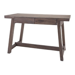 IMAX - Hayden Grey Oil Wood Desk - Taking work home is a fact of corporate life today, but you can work in style when you get there. Two drawers, clean lines and a rich, go-with-everything grey oil finish create an inviting wood desk that is at home as you are.