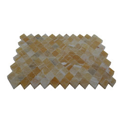 Honey Polished Diamond Pattern Mesh-Mounted Onyx Tile - 1 in. x 1 in. Honey Mesh-Mounted Diamond Pattern Onyx Mosaic Tile is a great way to enhance your decor with a traditional aesthetic touch. This polished mosaic tile is constructed from durable, impervious onyx material, comes in a smooth, unglazed finish and is suitable for installation on floors, walls and countertops in commercial and residential spaces such as bathrooms and kitchens.