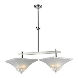 Z-Lite - Z-Lite 2 Light Island Light - This unique 2 light island fixture with its clean lines and bold crystal pieces will be sure to stand out over an island or dining room table.  The sectional rods makes it easy to adjust to the height needed in any space.