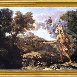 """Nicolas Poussin-16""""x24"""" Framed Canvas - 16"""" x 24"""" Nicolas Poussin Landscape with Diana and Orion framed premium canvas print reproduced to meet museum quality standards. Our museum quality canvas prints are produced using high-precision print technology for a more accurate reproduction printed on high quality canvas with fade-resistant, archival inks. Our progressive business model allows us to offer works of art to you at the best wholesale pricing, significantly less than art gallery prices, affordable to all. This artwork is hand stretched onto wooden stretcher bars, then mounted into our 3"""" wide gold finish frame with black panel by one of our expert framers. Our framed canvas print comes with hardware, ready to hang on your wall.  We present a comprehensive collection of exceptional canvas art reproductions by Nicolas Poussin."""