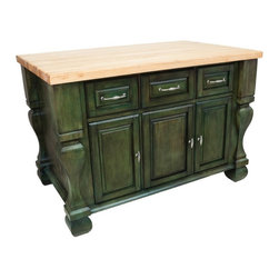All Other Brands - Tuscan Butcher Block Kitchen Island by Jeffrey Alexander- Green - HRI162 - Shop for Kitchen Islands from Hayneedle.com! The Tuscan Butcher Block Kitchen Island by Jeffrey Alexander- Green helps make your kitchen - the heart of your home - an even more warm and inviting place. Made in the USA this stationary island is beautifully crafted of strong durable wood and richly finished in a deep shade of green. Its stately Tuscan-inspired design makes it ideal for traditional spaces but it's also great for adding warmth and character to contemporary kitchens. From its 1.75-inch-thick butcher block top which is made of maple you can prep meals and serve food and drinks with convenience and ease. In addition to the handy extra countertop space this sturdy kitchen island offers plenty of storage on both sides. One side features three drawers for utensils knives and measuring cups and three spacious storage cabinets. Drawers feature full-extension slides for easy opening and closing and the doors have soft-close European hinges. Each cabinet opens to an adjustable shelf for mixing bowls and baking pans. On the other side of the island is adjustable open shelving for spices cookbooks or decorative items. Ornate metal hardware and shaped legs enhance the classic elegant style. About Hardware ResourcesAdherence to quality integrity and reliability has helped Hardware Resources become the fastest growing manufacturer of cabinet hardware in the United States. When you buy from Hardware Resources you're ensuring you'll be receiving service of the highest standard in the industry. You the customer are the unique focus of Hardware Resources.