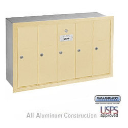 Salsbury Industries - Vertical Mailbox - 5 Doors - Sandstone - Recessed Mounted - USPS Access - Vertical Mailbox - 5 Doors - Sandstone - Recessed Mounted - USPS Access