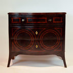 Small Lorgnette Chest Inlayed Wood Chest, Hand Painted Black Finish w/Ruby Accen - Dimensions: L 36''  × W 19''  × H 32''