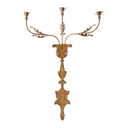 "Kathy Kuo Home - Pair Veurne French Manor 42"" Rustic Iron Candle Wall Sconce - An unusually shaped back plate supports three iron arms accented by leaves on the Veurne Candle Wall Sconce.  Price marked is for a pair."