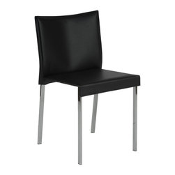 "Euro Style - Riley Side Chair (Set Of 2) - Black Leather/Chrome - There's something about this chair that shouts ""Mad Men"". They're sharp and crisp and 'retro modern'. For offices with very big ideas and an exciting cast of character, the Riley chairs are perfect. That's a wrap!"