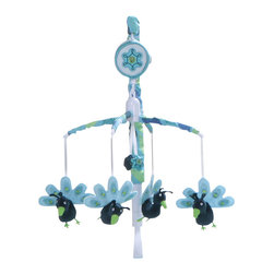 Banana Fish - Peacock Blue Mobile by Bananafish - Youll love the gender-neutral peacock crib bedding set for so many reasons. The Peacock Blue Mobile from Bananafish. Covered armature and music box. Plays Brahms Lullaby. Armature will fit most crib rail formats. Measures 25 L x 19 W x 11 H