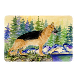 Caroline's Treasures - German Shepherd Kitchen or Bath Mat 24 x 36 - Kitchen or Bath Comfort Floor Mat This mat is 24 inch by 36 inch. Comfort Mat / Carpet / Rug that is Made and Printed in the USA. A foam cushion is attached to the bottom of the mat for comfort when standing. The mat has been permanently dyed for moderate traffic. Durable and fade resistant. The back of the mat is rubber backed to keep the mat from slipping on a smooth floor. Use pressure and water from garden hose or power washer to clean the mat. Vacuuming only with the hard wood floor setting, as to not pull up the knap of the felt. Avoid soap or cleaner that produces suds when cleaning. It will be difficult to get the suds out of the mat.