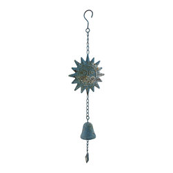 Zeckos - Weathered Finish Hanging Metal Sun with Cast Iron Bell - This decorative hanging chime features a cast iron bell and a metal sun topper complete with a hook to hang from just about anywhere whether inside your home in the dining room, entryway or living room, or outside on the patio, porch or in the garden. This 23 inch (58 cm) long chime boasts a highly weathered blue verdigris finish giving it an antique look, a 2.25 inch high, 2.25 inch diameter (6 x 6 cm) bell, and a 6 inch diameter (15 cm) stylized sun all complete on a metal chain. This piece makes a lovely housewarming gift for friends or family that is sure to be admired