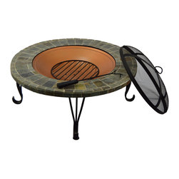 HIO - HIO 36-Inch Wood Burning Slate & Marble Top Fire Pit with Copper Accents - HIO fire pit with heavy duty cast iron bowl brings warmth to your garden or patio.It has four sturdy steel legs which support the whole strong steel bowl.The high-quality and classic brick pattern attractive many friends and families join in your campfire party.It makes any cool outdoor areas become a warm and funny place.