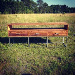 TV console with Reclaimed Barn wood and Steel Base -