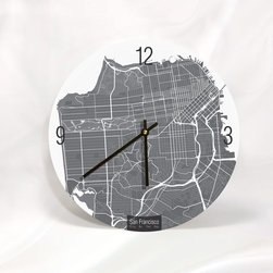 """Artnwalls - SAN FRANCISCO MAP ART Wall Clock - Unique Contemporary Art Wall clock - 11"""", 11"""" - Abstract San Francisco CA, map art - Features the streets of city by the bay,"""