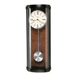 Howard Miller - Howard Miller Contemporary Black Satin Dual Chime Pendulum Wall Clock   Cortez - 625409 Cortez
