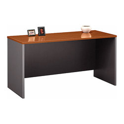 """Bush Business - Executive 60 in. Credenza in Auburn Maple - S - The attractive and versatile Series C Auburn Maple Executive 60 inch Credenza displays a durable, scratch & stain resistant melamine surface and PVC edge banding to protect against bumping.  Modesty panel grommets provide concealed wire access for phones, computers and peripherals. * Durable melamine surface resists scratches and stains. Stands alone or configures as right or left return. Modesty panel grommets provide wire access and concealment. Accepts Keyboard Shelf or Pencil Drawer. Accepts 60"""" Hutch for added storage functionality. Durable PVC edge banding protects desk from bumps and collisions. 59.449 in. W x 23.346 in. D x 29.842 in. H"""