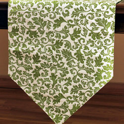 Chic Jacquard Table Runner (Green) - Gorgeous jacquard table runner features whimsical yet elegant design for a practical yet luxurious look for your table. Color: Green. Made in India