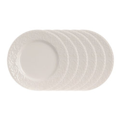 Red Vanilla - Red Vanilla Riviera 6.75-inch Small Plate (Set of 6) - This set of six side plates can replace or add to an existing Riviera dinnerware collection. A crisp,white glaze covers beautifully embossed curled vines.