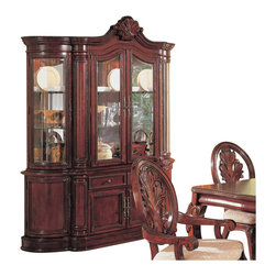 Coaster - Coaster Tabitha Traditional China Cabinet in Cherry Finish - Coaster - China Cabinets - 101034 - Turn back time with the glorious design of the Tabitha dining collection. Choose between birch solids and veneers set in a Antique White or Cherry finish. A traditional style comes alive with intricate carvings sculpted bases and legs comfortable upholstered seat cushions and brushed metal hardware. Find the right look for your home with the dining arm and side chairs rectangular dining table round glass top dining table buffet hutch and complete china cabinet.Adorn your home with the traditional style and gorgeous display options of the complete china cabinet. The buffet base has two storage drawers and four wooden doors for hidden storage while the above hutch is highlighted by glass doors a mirrored back and touch canister lighting. A traditional style includes decorative handles paneled drawer fronts intricate carvings and bold moulding. Add the dining table and chair set for a complete collection. Available in a cherry or Antique White finish.Features:
