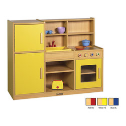 "Ecr4kids - Ecr4Kids Colorful Essentials 4-in-1 Play Kitchen Set - The Colorful Essentials 4-in1 Play Kitchen includes a 2-door refrigerator, sink with basin, cupboard shelves and stove. Stove has a see-through window and removable ""hot"" burner covers. Unit is big enough for multiple children to play simultaneously, and has plenty of storage for favorite toy foods and dishes. Available in a warm Maple laminate with primary colored sides that match all items in the Colorful Essentials product line."