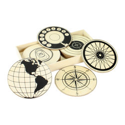 Wood Circular Graphic Coasters - Set of 12 - An amusing, intellectual�mix of vintage pop art with travel motifs makes the Wood Circular Graphic Coasters a playful high-personality addition to a transitional room.� The black line art on the natural wood surfaces forms instantly-recognizable designs, including rotary dials and the Western Hemisphere; the result is iconic and coy, creating a dynamic drama in your room.