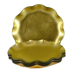 Tango - Tango Gold Ruffle Glass Dessert Plates (Set of 4) - Complete your table setting with these elegant gold ruffle dessert plates by Tango. The plates are featured in a striking gold color with a beautiful ruffle edge that will surely be a conversation piece at your next meal.