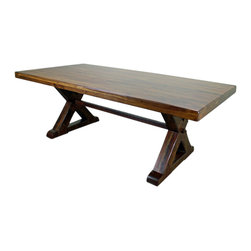 """84"""" Dining Room Table - Solid Wood and Iron Table. Just look at this thing! The pictures speak for themselves. This wood and iron dining room table will be the focal point of your dining room set. You just can't go wrong with this table that will last the generations.Dimensions  84'' l x 30'' h x 42'' w"""