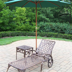 Oakland Living - 3-Pc Lightweight Chaise Lounge Set - Includes chaise lounge, side table and 9 ft. umbrella with stand. Metal hardware. Fade, chip and crack resistant. Warranty: One year limited. Made from rust free cast aluminum. Antique bronze hardened powder coat finish. Minimal assembly required. End table: 17.5 in. W x 17.5 in. D x 19 in. H (15 lbs.). Chaise: 71 in. W x 25.5 in. D x 35 in. H (68 lbs.). Overall weight: 158 lbs.This Chaise lounger set will be a beautiful addition to your patio, balcony or outdoor entertainment area. Our Chaise lounger sets are perfect for any small space, or to accent a larger space. We recommend that the products be covered to protect them when not in use. To preserve the beauty and finish of the metal products, we recommend applying an epoxy clear coat once a year. However, because of the nature of iron it will eventually rust when exposed to the elements. The Oakland Mississippi Collection combines southern style and modern designs giving you a rich addition to any outdoor setting. The traditional lattice pattern and scroll work is crisp and stylish. Each piece is hand cast and finished for the highest quality possible.
