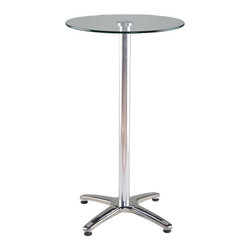 Eurostyle - Eurostyle Amber-B Round Pedestal Glass Bar Table w/ Aluminum Column - Round Pedestal Glass Bar Table w/ Aluminum Column belongs to Amber Collection by Eurostyle Clear tempered glass top. Stainless steel base. Aluminum column. Adjustable feet. Table Top (1), Table Column (1)
