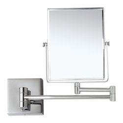 Nameek's - Double Face 3x Makeup Mirror, Chrome - This wall mounted rectangular mirror features a contemporary Italian design.
