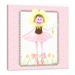 """Doodlefish - Twinkle Toes with Browns - 18"""" x 18"""" Gallery Wrapped Giclee Print of a ballerina fairy on her tippy toes. Artwork  This piece comes in Pink and Brown."""