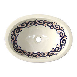 Casa Daya Tile - Made to order Talavera Hand Painted Mediterranean  Style  Sink, Medium - The styles are influenced by the beautiful Spanish architecture in the Guanajauto state of Mexico from the time the Spanish inhabited the area starting in the 1520's.